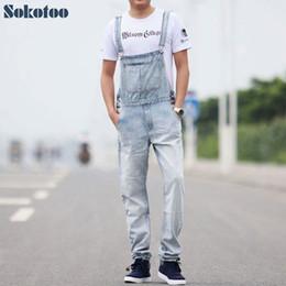 Blue Plus Size Jumpsuit Australia - Sokotoo Men's casual overalls Thin denim jumpsuits Plus size loose vintage blue white jeans