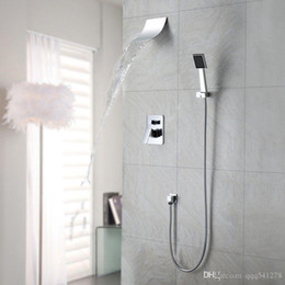Contemporary Metal Wall Australia - Polished Chrome Wall Mount Waterfall Spout Head Shower Faucet with Hand shower System