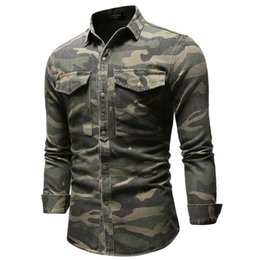 camouflage collared shirts 2021 - Spring Mens Army Green Shirts Casual Camouflage Jean Straight Male Tshirts Long Sleeve Single Breasted Boys Clothing