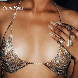 $enCountryForm.capitalKeyWord NZ - Stonefans Bra Necklace 3 Colors Rhinestone Chain Jewelry Hollow Out New Crystal Gold Chain Necklace Bikini For Valentine Gift SH190713