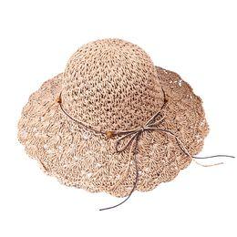 $enCountryForm.capitalKeyWord UK - Solid Color Foldable Crochet Cap Hollow Dome Straw Wide Brim Caps Summer Beach Caps Visor Hats Vacation Tourism Weaving Hat
