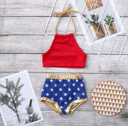 $enCountryForm.capitalKeyWord Australia - Kids american flag outfits girls lace-up Bows dew shoulder tops+stars printed gold elastic waist shorts 2pcs sets 4th for july clothes F7926