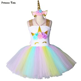 4t rainbow tutu Australia - Children Girls Unicorn Tutu Dress Rainbow Princess Kids Birthday Party Dress Girls Christmas Halloween Pony Cosplay Costume 1-14MX190822