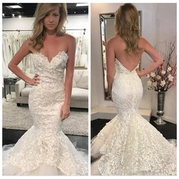 Color wedding dress patterns online shopping - 2019 Sexy Lace Pattern Wedding Dresses Lace Appliques Backless Plus Size Long Mermaid Bridal Gowns Custom Formal Vestidos De Mariee