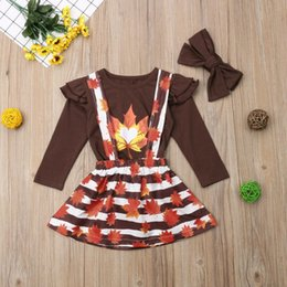 brown skirt outfits NZ - 2019 New Toddler Kids Baby Girls Clothes Set Autumn Long Sleeve Brown Top Striped Skirt Maple Leaf Outfits Girl 1-6T 3Pcs