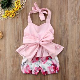 $enCountryForm.capitalKeyWord Australia - Baby Girl Clothes Summer Sleeveless Backless T-shirt + Shorts 2 Piece Set Bow Strap Tank Tops Big Floral Print Shorts Kids Clothing A41803