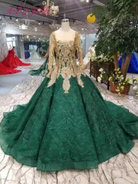 $enCountryForm.capitalKeyWord Australia - AXJFU Luxury princess golden flower wedding dress vintage turkey o neck beading green lace wedding dress 100% real photo 799