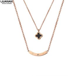 Discount gold lucky clover - Stainless Steel Chocker Necklace for Women Lover's Clover Curve Rose Gold Pendant Necklace Fashion Two Layered Luck