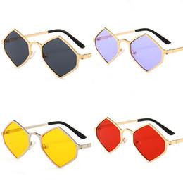 72a4688d09d Polygon Diamond Sunglass Metal Women Sunglasses Man Square Thin Face Eyeglass  Golden Frame Comfortable Nose Rest Creative 9md D1