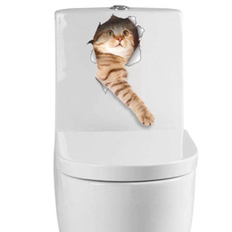 Wallpapers Walls Cartoons UK - Creative stereoscopic 3D effect kitten puppy breaks out of the wall Decorative bathroom toilet cover Wall Notebook etc. Sticker wallpaper st