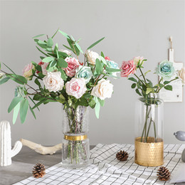 silk single roses for wedding UK - 2019 Luxury Rose Single branch European Roses silk Artificial flowers for Hotel window wedding decoration fleur artificielle