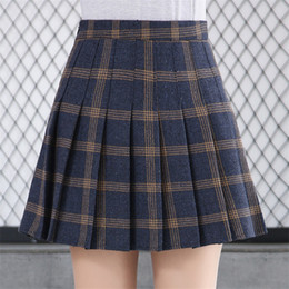 678dbf8734 Plus size girls uniforms online shopping - Women High Waist Casual Wool  Pleated Skirt Japanese School