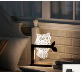 $enCountryForm.capitalKeyWord Australia - Free Shipping 3D Acrylic Owl Nightlight Visual Led Night Lights for Home Bedside Night light for Child Gift USB Table Lamp Nightlight