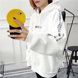 Wholesale female hoodies online – oversize Harajuku Letters Printed Casual Hooded Hoodies Pullover Women Autumn Thick Loose Sweatshirt Female Thicken Coat Size S XXL
