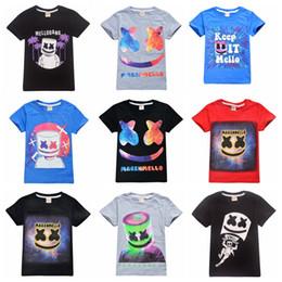 Venta al por mayor de 39 estilos niños niñas Marshmello T Shirt DJ Música camiseta de algodón para el verano los niños usan niños ropa casual linda para 6-14 años