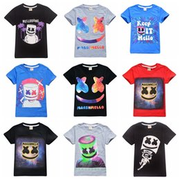 Wholesale 39 styles boys girls Marshmello T Shirt DJ Music cotton T shirt for summer children wear kids cute casual clothes for years