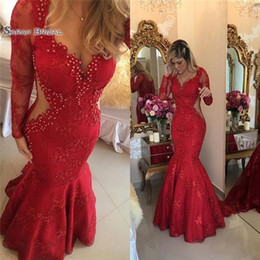 Arabic Red Evening Dress Australia - 2019 Red Formal Lace Dresses Evening Wear with Long Sleeves Pearls Mermaid Sweep Train Arabic Prom Party Gowns