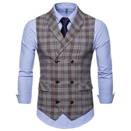 natural bamboo slimming suit Australia - 2019 New Men Fashion Casual Basic Casual Suit Vest Male Waistcoat Gilet Homme Plaid Sleeveless Social Slim Fit Suit Vest