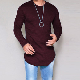 bamboo tees Australia - 10 Colors Plus Size S-4XL 5XL Summer&Autumn Fashion Casual Slim Elastic Soft Solid Long Sleeve Men T Shirts Male Fit Tops Tee CX200707