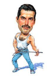 """Wall Stickers Rock UK - Queen Freddie Mercury Caricature """"Killer Queen"""" 70's-80's Rock Art Silk Poster 24x36inch 24x43inch 122"""