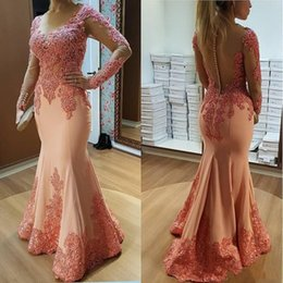 Vintage club coVer online shopping - 2019 New Sexy Mermaid Evening Dresses Sheer Jewel Neck Long Sleeves Lace Appliques Beads Satin Sheer Back Formal Prom Dresses Evening Gowns