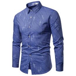 Linen Slim Shirts Australia - 2019 New Men Shirts Business Long Sleeve Turn-down Collar 100% Cotton Male Shirt Slim Fit Popular Designs M-3xl