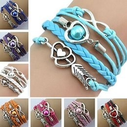 $enCountryForm.capitalKeyWord NZ - DHL Womens Multilayer braided Bracelet Infinity Cupid Love pearl Heart Wings Charms Bracelet Leather Chain bangle gift