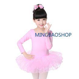 Tutu Princess Australia - Girls Mesh Ballet Gymnastic Dress Kids Short Long Sleeve Princess Gymnastics Dancewear Children Professional Tutu Tulle 2019