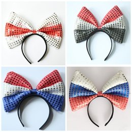Hair band material online shopping - Super Large Bow Hair Hoop Sequins Headband Women Hairs Band More Color Cloth Material Yellow Blue jy C1
