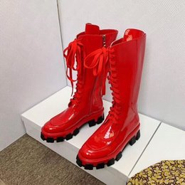 $enCountryForm.capitalKeyWord Australia - 2019 NEW spring fall Womens black White PINK red neon shiny patent real leather chunky Platform Rubber sole luxury lace up Mid-Calf boots