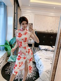 $enCountryForm.capitalKeyWord Australia - Summer 2019 New Online Red Anchor Sexy Night Shop Modified Girl Splitting lace Cheongsam Dress Mid-long QC0311