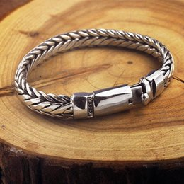 pure silver bracelets men UK - 2020 New Real solid S925 pure silver hand woven latch bracelet for men vintage mighty Thai silver men bracelet
