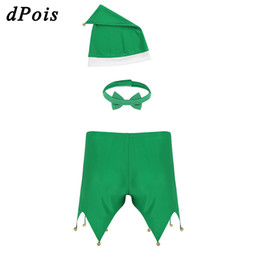 Discount custom hat adult - Christmas Lingerie Sets Sexy Lingerie Adult Men Green Triangle Bell Shorts with Hat Bow Tie Party Cosplay Dress Erotic C