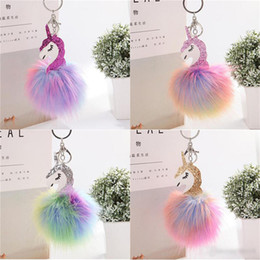 Artificial Chains Wholesalers Australia - Fluffy Metal Alloy Unicorn Pom Keychain Pendant Cute Artificial R Fur ball Key Chain Bag Car Key Ring Hang Bag 17cm*10cm kids toys