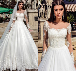 Wholesale 2019 Elegant A Line Sheer Neck Lace Appliques With Illusion Long Sleeves Pearls Tulle Bridal Gowns Sweep Train Plus Size Wedding Dress