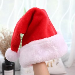 red striped christmas dress Australia - Wholesale Soft Plush Christmas Hat Thick Red Old Man Hat Holiday Dress Merry Christmas Party Decoration Xmas For Children
