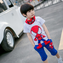 a97086f0f Hot Summer Kids Clothing Sets Summer Leisure Suit Spiderman Cartoon T-shirt  + Pants Suit halloween Costume Birthday Gift