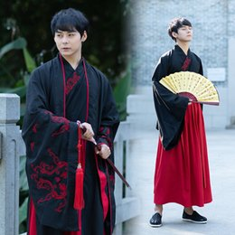 $enCountryForm.capitalKeyWord Australia - Traditional Chinese Hanfu Men Black Jacket Tang Qing Dynasty Ancient Chinese Folk Dance Costume Male Stage Outfits Wear DNV11619