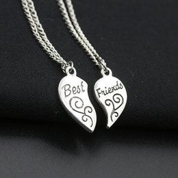 pendent chains 2019 - N368 Friendship Two Pieces Combination Alloy Metal Necklace Heart Shape Carved Pendent Necklaces Best Friends Girlfriend