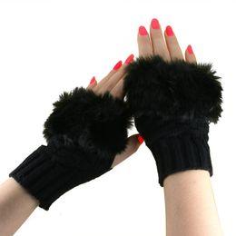 $enCountryForm.capitalKeyWord Australia - Fashion Winter Women Gloves Plush Faux Fur Knitting Wool Keep Warm Short Mitten Fingerless Lady Girl Half Finger Glove TY53