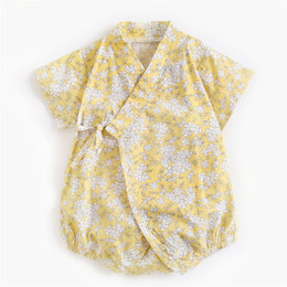 $enCountryForm.capitalKeyWord UK - Stylish INS Infant Toddler Baby Girls Flower Rompers Cotton Thin Short Sleeve Floral V-neck Designs Summer Newborn Kids Jumpsuits for 0-3T