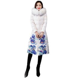 China Women Winter Down Jacket Female Retro Flower Printed Long National Coat Lady Fur Hooded Thick Warm Outerwear Plus Size 4XL V363 supplier ladies plus size long down coat suppliers