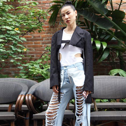 $enCountryForm.capitalKeyWord Australia - Black Irregular Blazer Coats Female Lapel Long Sleeve Lace Up Oversized Womens Outerwear 2019 Spring Fashion Tide Small suit jacket suit