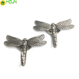 Hooks For Keys Australia - Euro style Antique Silver dragonfly Wall Hangers Storage Home Decoration Creative Wall Hooks for Hanging Coats Keys hats bags