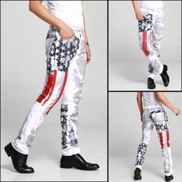 AmericAn flAg denim online shopping - 2019 Fashion hot mens designer jeans men denim with wings american flag plus size