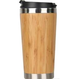 Frete grátis 15oz de aço inoxidável de bambu garrafa de água de vácuo isolados café caneca de viagem à prova de fugas xícaras de chá de madeira ao ar livre canecas de bambu Tumbl venda por atacado