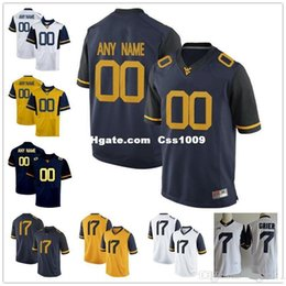 Football Numbers Australia - Custom West Virginia Mountaineers College Football Limited White navy blue yellow Personalized Stitched Any Name Number 7 Grier Jersey