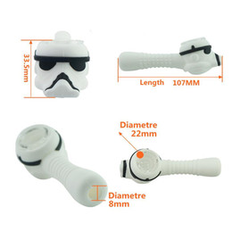 $enCountryForm.capitalKeyWord Australia - Storm Trooper Silicone Spoon Pipe With Classic Helmet Glass Bowl Colorful Smoke Water Pipe Length 107 Mm