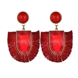 fringe charm Canada - 2019 Fashion Bohemian Ethnic Tassel Dangle Earrings for Women Girl Vintage Fringe Stone Long Drop Earring Jewelry E2852