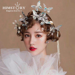 beautiful butterfly wedding dresses Canada - Himstory Beautiful Flying Gold Butterfly Wedding Hairbands Party Evening Dress Blue Butterfly Hairpins Jewelry Hair Accessories